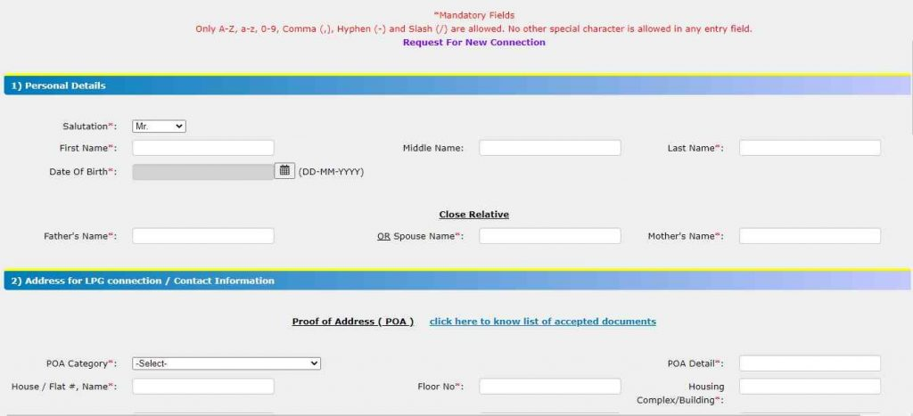 Bharat Gas Connection Application Form