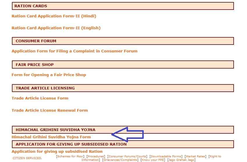 Grihini Suvidha Yojana form pdf