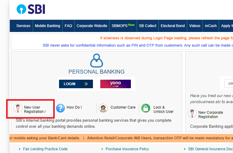 SBI Internet Banking new registration