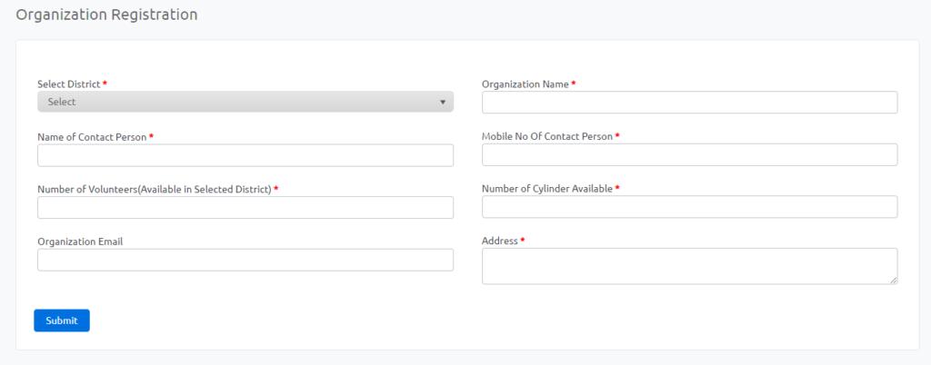 Haryana Oxygen Cylinder Refill Organization Registration Form